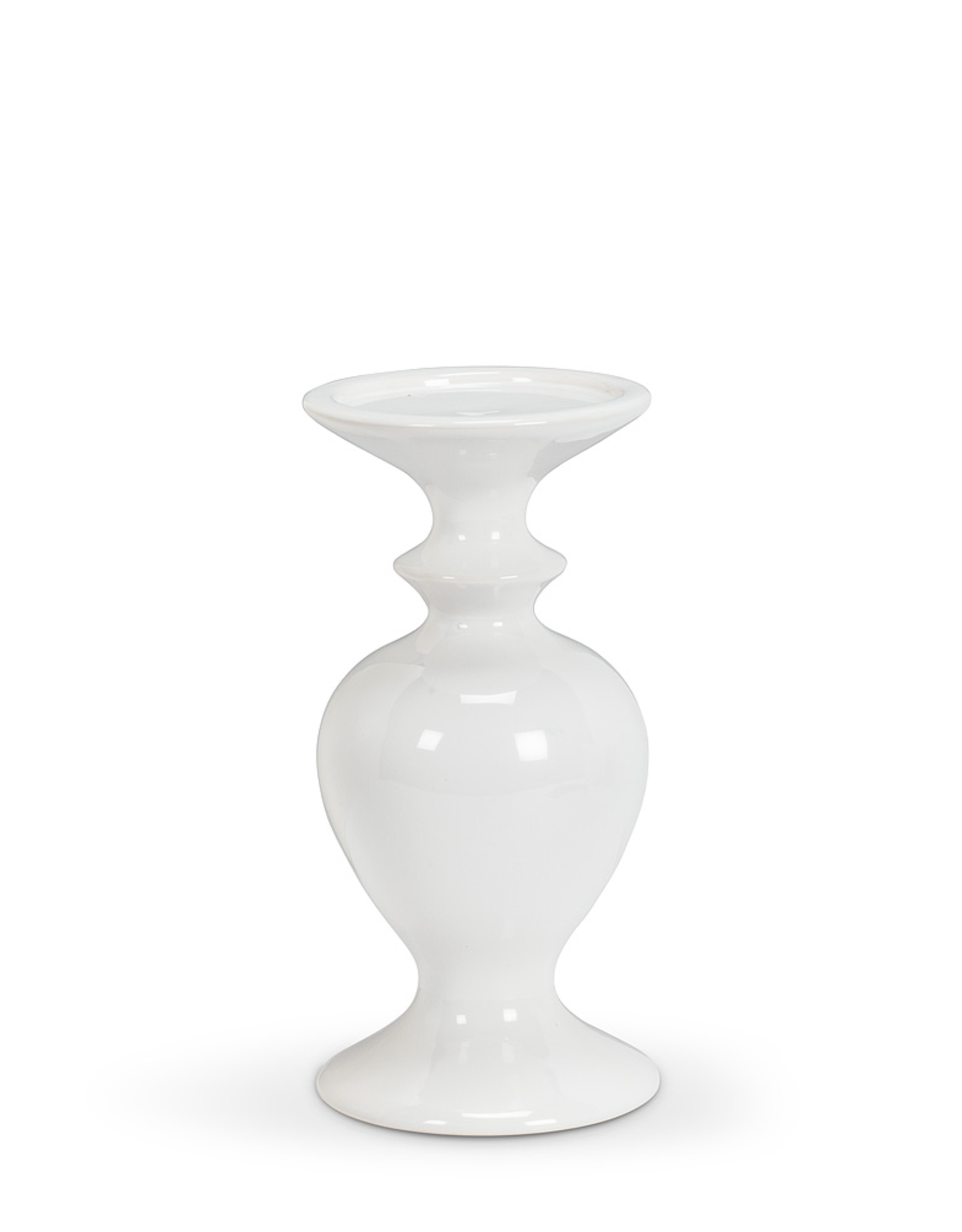Shapely White Pillar Holder, Small