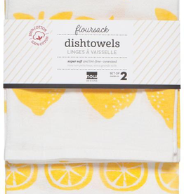 Lemon Floursack Dishtowels, Set/2