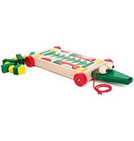 Crocodile Pull Along Block Cart, Made in Germany