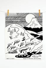 Snow Mountain Linen Tea Towel
