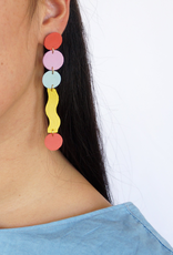 Long Squiggle Earrings Recycled Leather