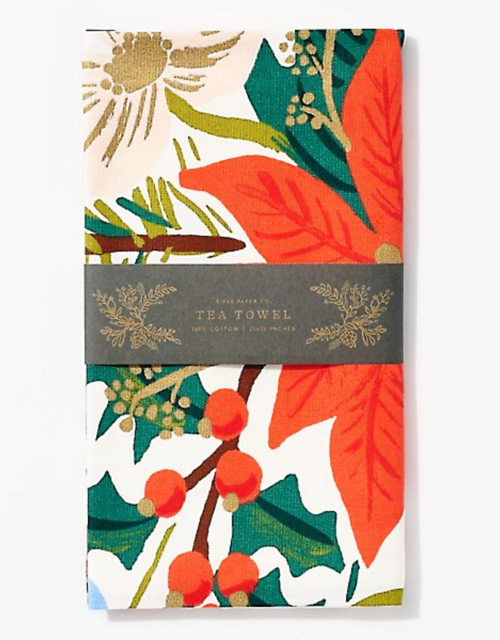 Rifle Paper Holiday Bouquet Tea Towel