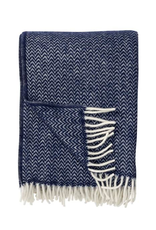 Lambswool Throw Chevron - Dark Denim