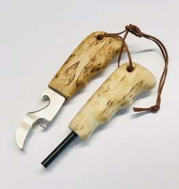 Survival Kit - Flint & Can/Bottle Opener Curly Birch