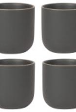 Orb Teacup Set Black, Set/4