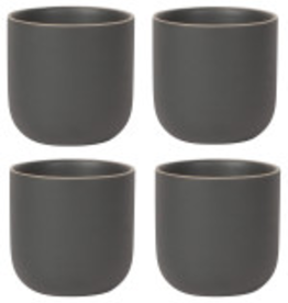 Orb Teacup Set Black, Set/4