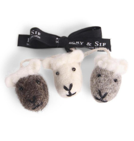 Sheep Face Ornaments - Fair Trade Set/3