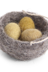 Hanging Ornament Nest W 3 Eggs, Fair Trade