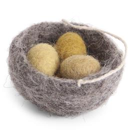 Hanging Ornament Nest W 3 Eggs, Fair Trade