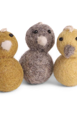 Hanging Ornaments, Felted Mini Chickens Set/3 Fair Trade