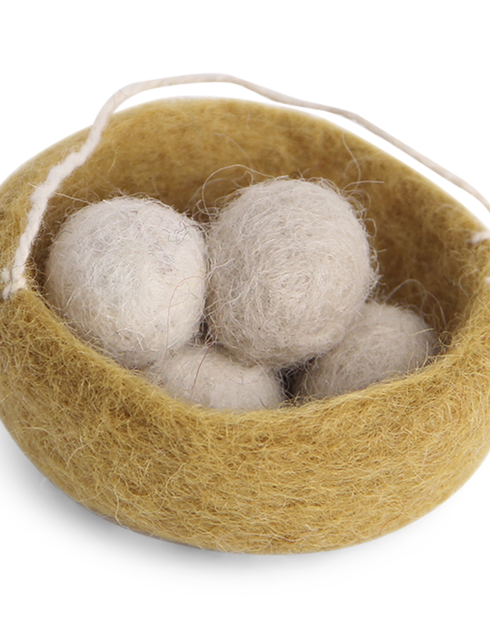 Felted Nest Hanging Ornament, Grey - Fair Trade