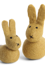 Felted Spring Decorations Set/2 Bunnies, Ochre