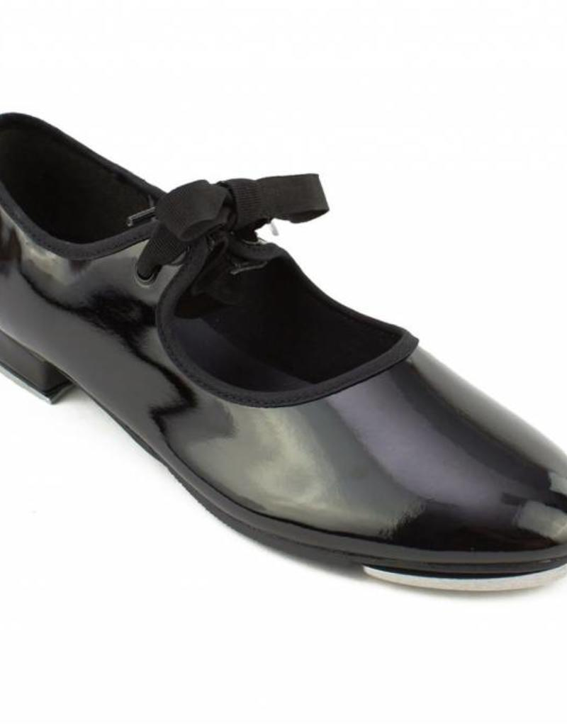 So Danca Val - Girls Tie Tap Shoe in Patent Black