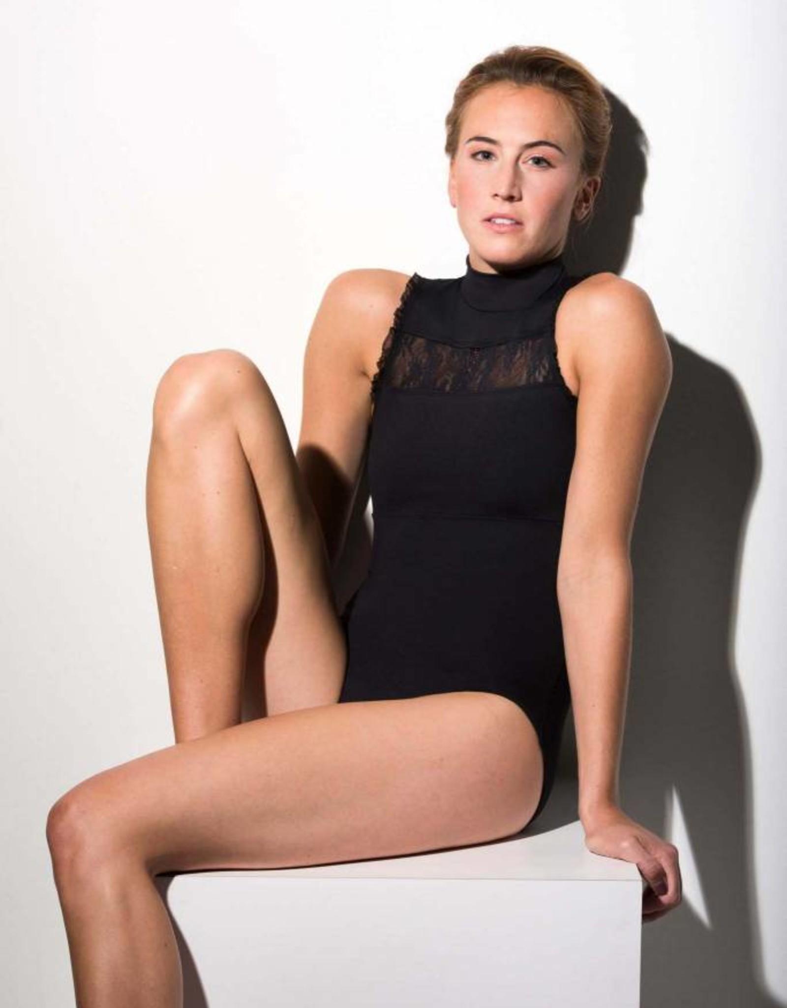 AinslieWear Rebecca Leotard with Kara Lace in Black