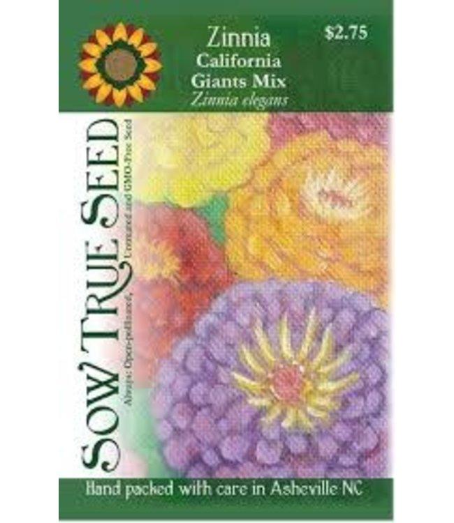 Sow True Seed Zinnia - California Giants Mix