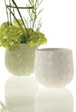 """Accent Decor 3.25"""" Kabasa Pot ceramic container planter - white"""
