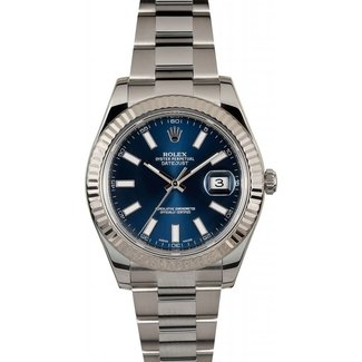 Rolex ROLEX 41MM DATEJUST II (2015 B+P) # 116334 BLUE