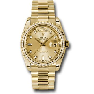Rolex ROLEX DAY DATE 36MM (60 baguette  B+P) #118398 ALL FACTORY DIAMONDS UNWORN TAX ALL IN