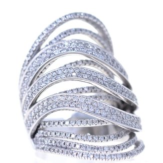 Jewellery LADYS WHITE GOLD FANCY DESIGN DIAMOND RING