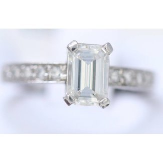 Jewellery PLATINUM EMERALD CUT DIAMOND RING 1.03CT  Vs1-I