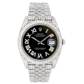 Rolex ROLEX DATEJUST 41MM (2018 B+P) #126334 FULL ICED OUT - AFTERMARKET DIAMONDS