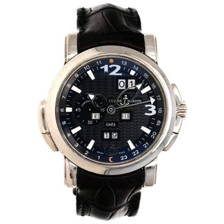 Ulysse Nardin ULYSSE NARDIN GMT Perpetual Black DIal 18kt White Gold Black Leather Men's Watch 320-60-32 (B+P)