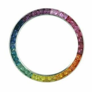 DIAMOND BEZEL RAINBOW PRECIOUS STONES GOLD SETTING 40MM