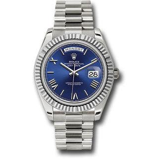 Rolex Rolex Style No: 228239 blrp White Gold Day-Date 40 Watch - Fluted Bezel - Blue Bevelled Roman Dial - President Bracelet