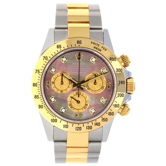 Rolex ROLEX DAYTONA Two Tone (2009)Dark Mother-Of-Pearl Gold Crystal Subdials Dial