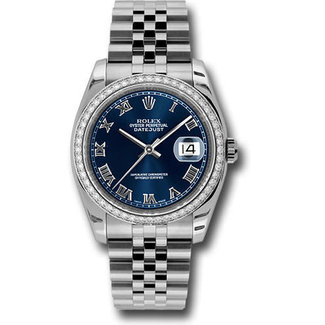 Rolex Rolex Steel 36 mm -  Custom Diamond Bezel - Blue Roman Dial