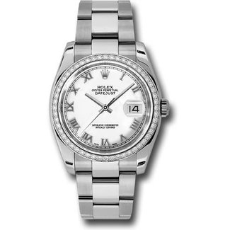Rolex Rolex Steel 36 mm -  Custom Diamond Bezel -White Roman Dial
