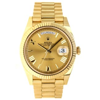 Rolex Yellow Gold Day-Date 40 Watch - Fluted Bezel - Champagne Roman Dial - President Bracelet