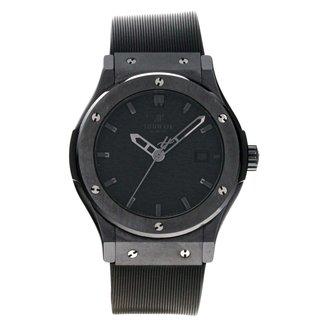 Hublot Hublot Big Bang Classic All Black - 500 Limited Edition Black Ceramic on Strap with Ceramic Bezel 501.CM.1110.RX