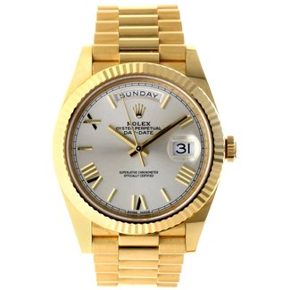 Rolex Rolex Yellow Gold Day-Date 40 Watch - Fluted Bezel - Silver Bevelled Roman Dial - President Bracelet