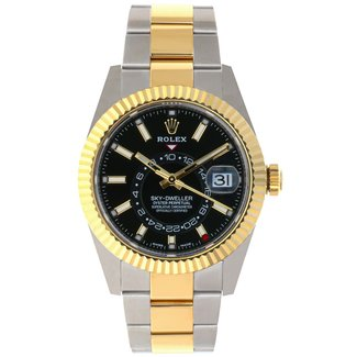 Rolex Rolex Yellow Rolesor Sky-Dweller Watch - Black Index Dial - Oyster Bracelet