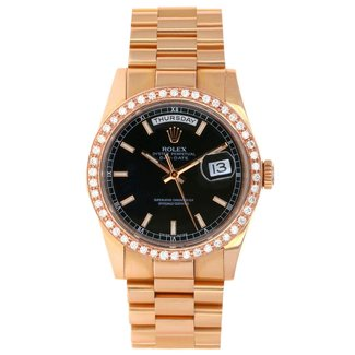 Rolex Rolex Pink Gold Day-Date 36 Watch - Domed Bezel - Black Index Dial - President Bracelet
