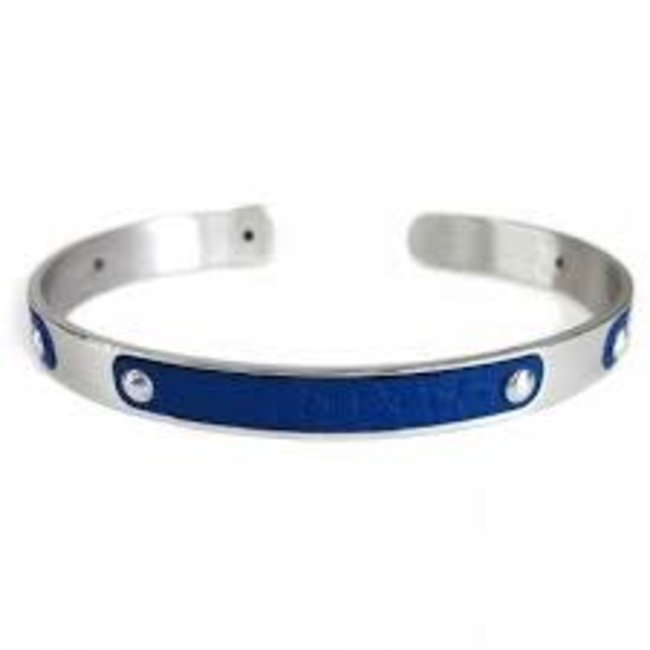 ZANCAN ZANCAN STEEL AND LEATHER BANGLE #ESB048-BL