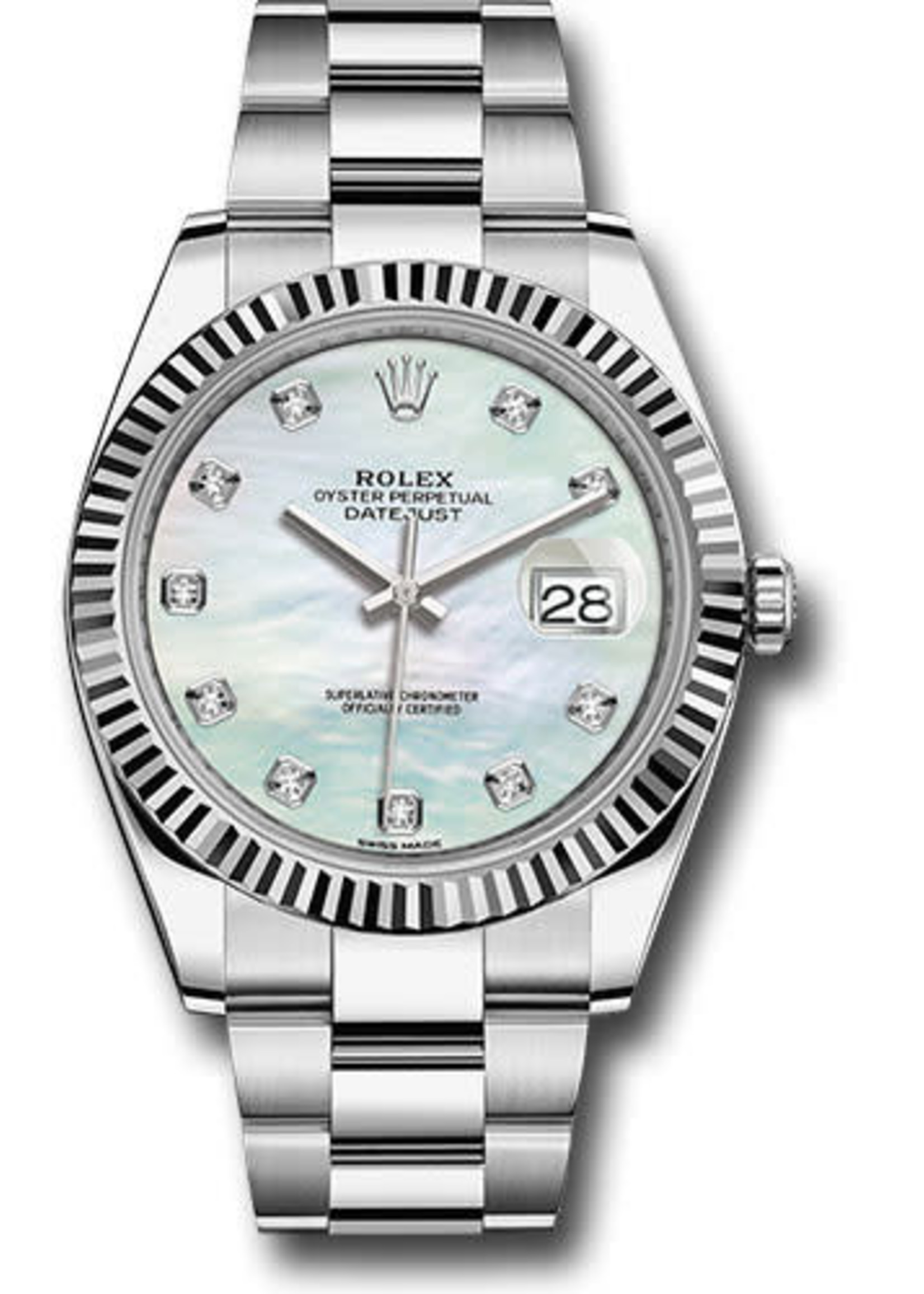Rolex ROLEX DATEJUST 41MM 2019 (B+P) MOTHER OF PEARL AND DIAMONDS #126334