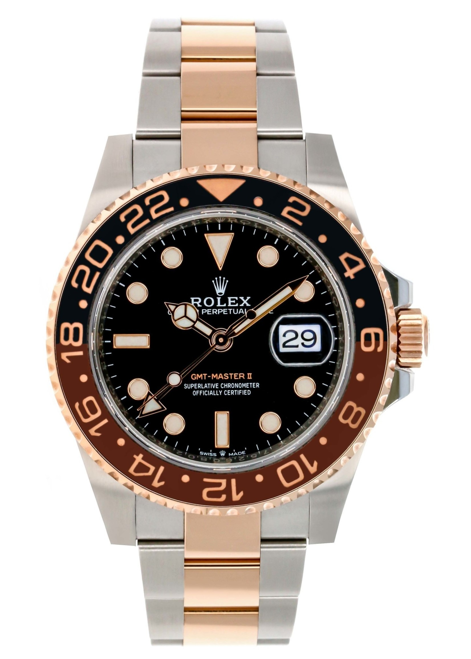 Rolex ROLEX GMT MASTER II STEEL & EVEROSE 40MM 2019 (B+P)#126711CHNR