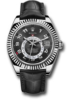 Rolex Rolex White Gold Sky-Dweller Watch - Black Arabic Dial - Black Leather Strap
