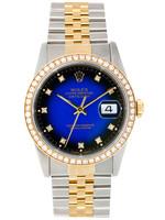 Rolex ROLEX DATEJUST 36MM BLUE DIAL DIAMOND BEZEL #116243