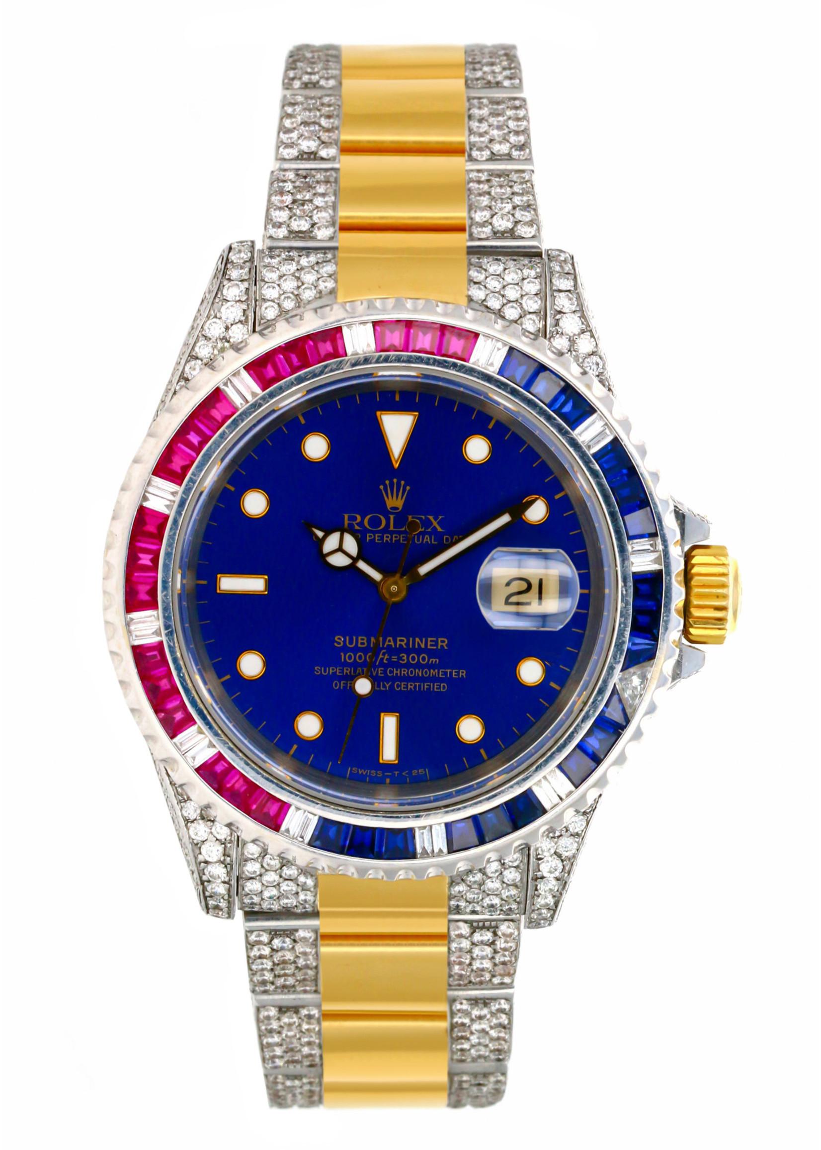 Rolex Watches ROLEX SUBMARINER 40MM #16613 CUSTOM DIAMONDS
