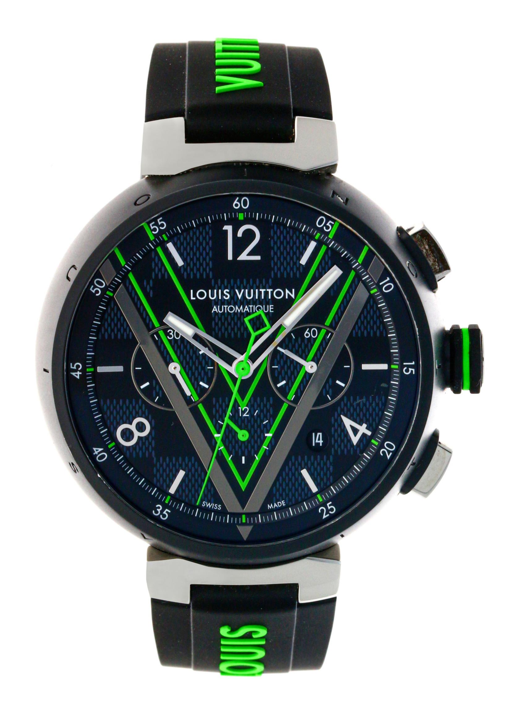 louis Vuitton LOUIS VUITTON TAMBOUR DAMIER GRAPHITE RACE CHRONOGRAPH (2018) #QBB160