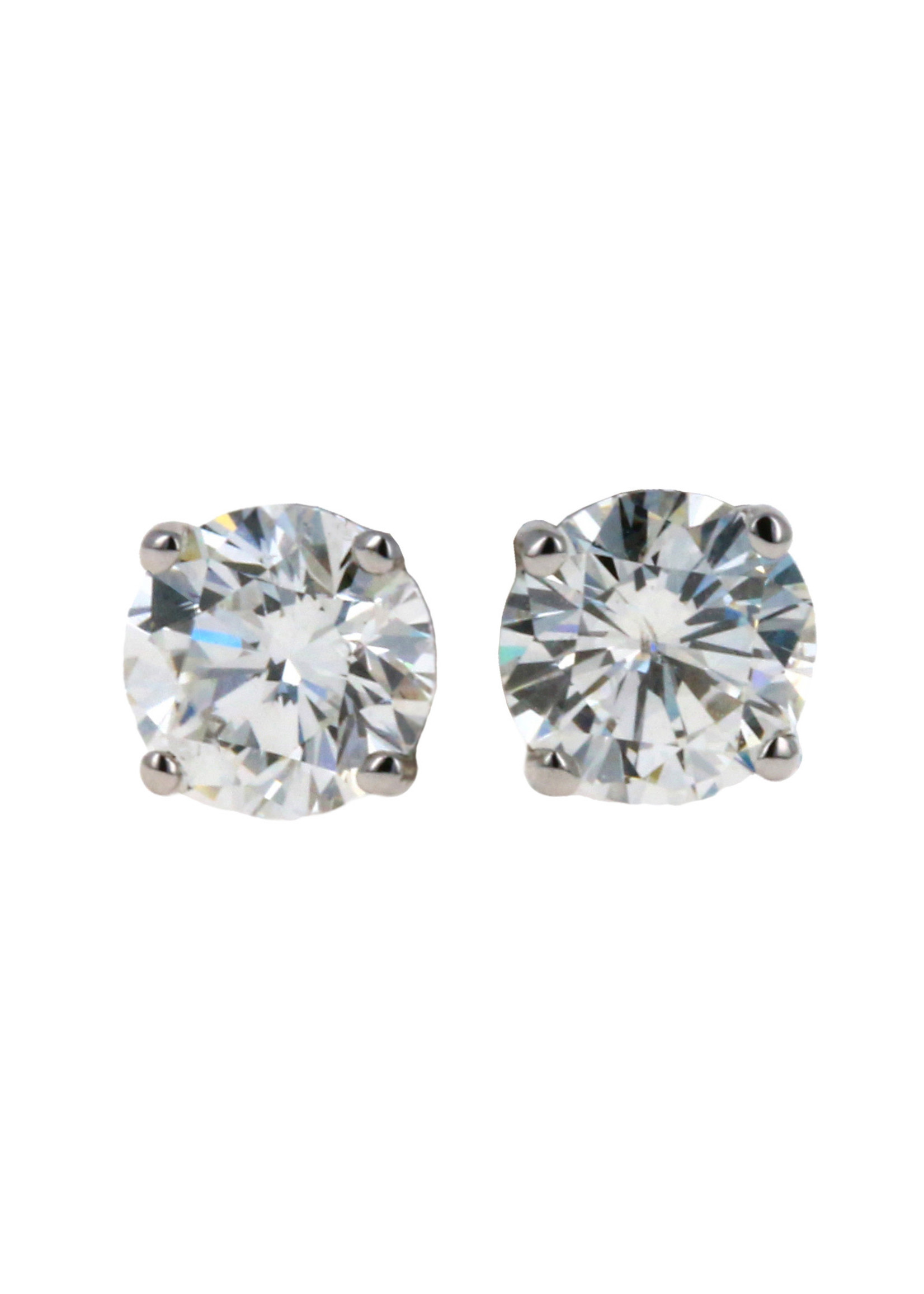 Jewellery ROUND BRILLIANT CUT EARINGS - 0.72 CT EACH / SI-2 / H/ VERY GOOD
