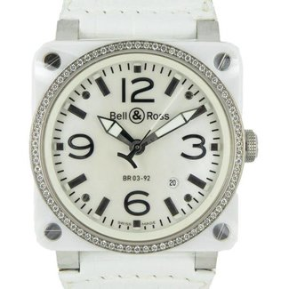 Bell & Ross Aviation BR 03-92 Ceramic BR 03-92 White Ceramic Diamonds 42 mm BR-03-92-WH-CE-DIAMOND