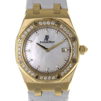 Audemars Piguet Audemars Piguet 67601BA.ZZ.D012CR.03 Ladies Royal Oak 18K Yellow Gold / Diamonds MOP White Strap
