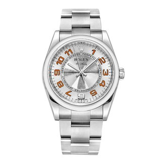 Rolex ROLEX Air King Concentric Silver Orange Arabic Dial  114210 (2012 B+P)