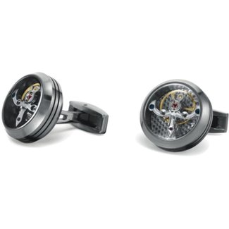 TF CUFFLINKS TF CUFFLINK CT-SM02 TOURBILLION MATT STAINLESS STEEL SILVER CARBON