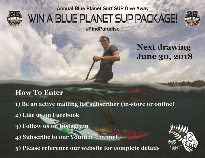 Blue Planet Surf Annual SUP Giveaway