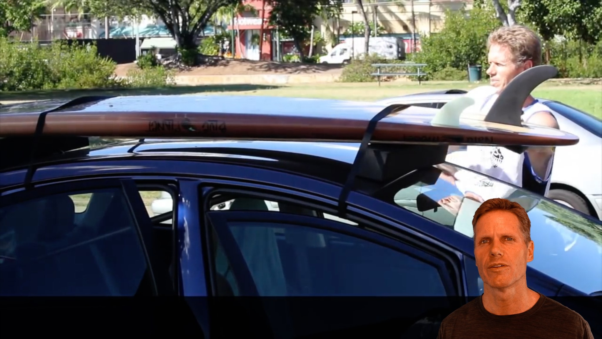 how to strap board to car without roof racks